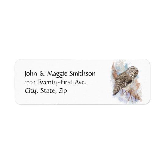 Konst för natur för fågel för uggla för returadress etikett