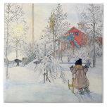 Konst för platsen för Carl Larsson vintersnö Kakel