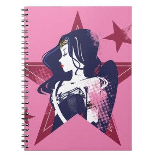 Konst för pop för kvinna & för stjärnor för anteckningsbok med spiral