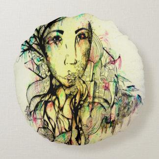 Konst för pop för porträtt för Zengultabstrakt Rund Kudde