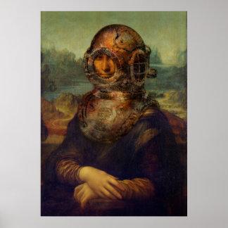 Konst för pop för Steampunk Da Vinci Mona Lisa Poster