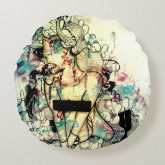 Konst för porträtt för vattenfärgpop overklig rund kudde