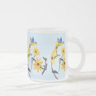 Konst för solrosBluetits blommigt Frostad Glasmugg
