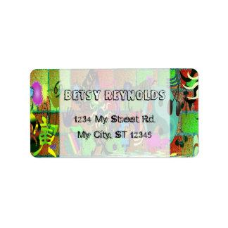 konst för U-plocka färggrafitti på tegelstenväggen Adressetikett