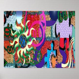 konst för U-plocka färggrafitti på tegelstenväggen Affisch