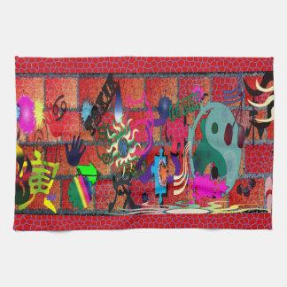 konst för U-plocka färggrafitti på tegelstenväggen Kökshanddukar