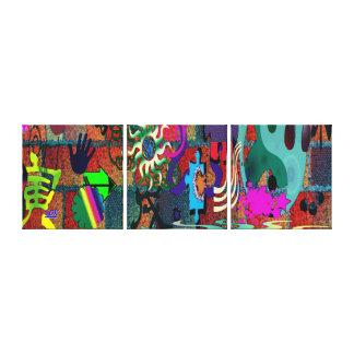 konst för U-plocka färggrafitti på tegelstenväggen Sträckta Canvas Tryck