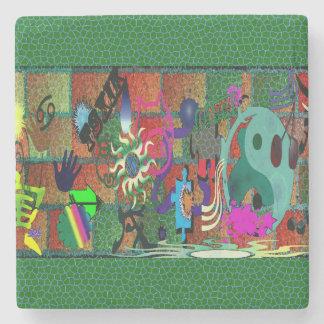 konst för U-plocka färggrafitti på tegelstenväggen Stenunderlägg