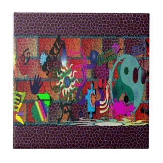 konst för U-plocka färggrafitti på tegelstenväggen Liten Kakelplatta