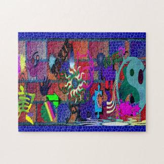 konst för U-plocka färggrafitti på tegelstenväggen Pussel