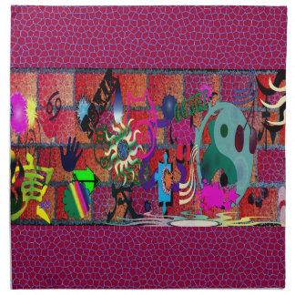 konst för U-plocka färggrafitti på tegelstenväggen Näsdukar