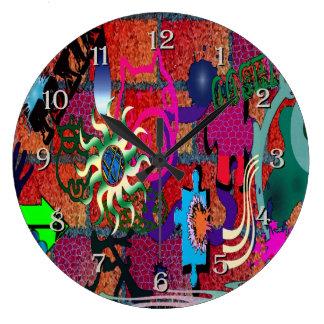konst för U-plocka färggrafitti på tegelstenväggen Stor Rund Klocka