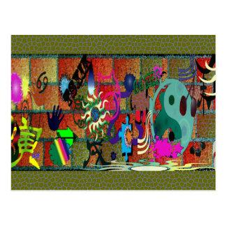 konst för U-plocka färggrafitti på tegelstenväggen Vykort