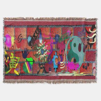 konst för U-plocka färggrafitti på tegelstenväggen Dekorativ Filt