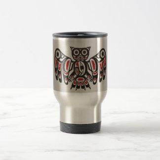Konst för uggla för indian för NW för kaffemugg Rostfritt Stål Resemugg