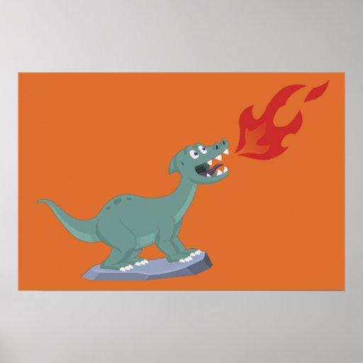 Konst för ungeAvfyra-Andning Dinosaur av Jeff Nevi Affisch