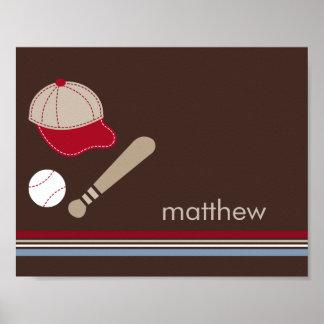 Konst för vägg för unge för baseballfläktpersonlig affischer