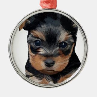 Konst för valp för Yorkshire Terrier Julgransprydnad Metall