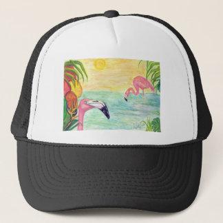 Konst för vattenfärg för två Florida Flamingos Keps