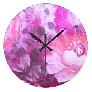 Konst för vattenfärgen för rosa rosblommavintage stor klocka