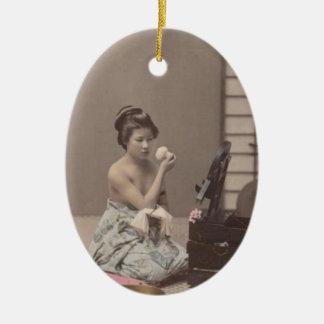 Konst för vintage för japansk damGeisha asiatisk Ovalformad Julgransprydnad I Keramik