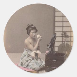 Konst för vintage för japansk damGeisha asiatisk Runt Klistermärke