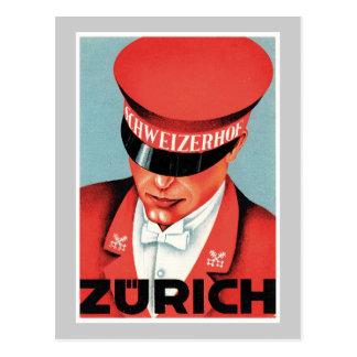 Konst för vintage resorZurich Schweitz etikett Vykort
