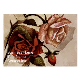 Konst för vintageroblommigt set av breda visitkort