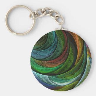 Konst Keychain för färghärlighetabstrakt Rund Nyckelring