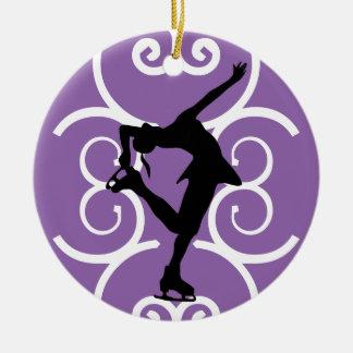 Konståkareprydnaden - lila - personifiera den rund julgransprydnad i keramik