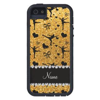 Konståkning för glitter för anpassningsbarnamngult iPhone 5 fodraler
