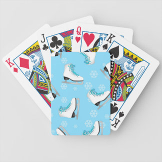 Konståkning - isskridskoblått med snöflingor spelkort