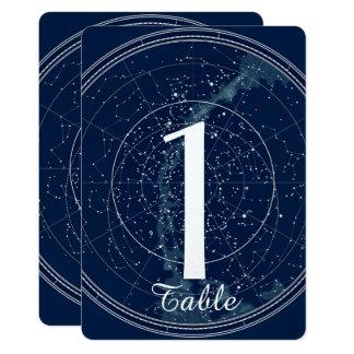 Konstellationnatthimmel som gifta sig bordsnumret 12,7 x 17,8 cm inbjudningskort