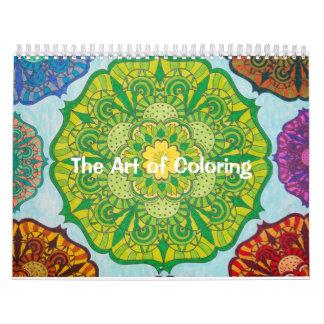 Konsten av färgläggningkalendern kalender