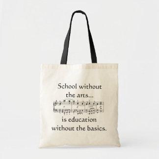 Konster i utbildningstoto hänger lös tygkasse