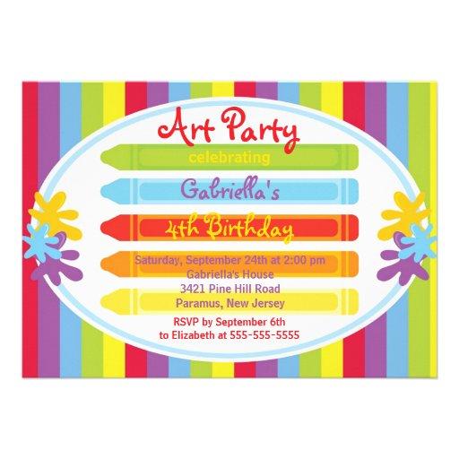 Konster & tillverkar ungar målar födelsedagsfesten anpassade tillkännagivande