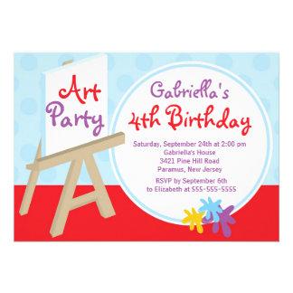 Konster & tillverkar ungar målar födelsedagsfesten anpassningsbara inbjudningskort