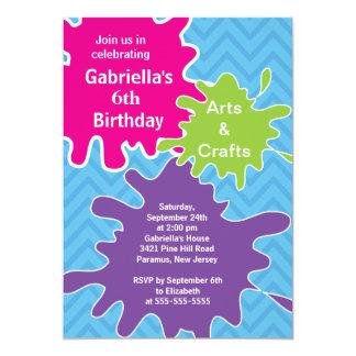 Konster & tillverkar ungar målar födelsedagsfesten 12,7 x 17,8 cm inbjudningskort