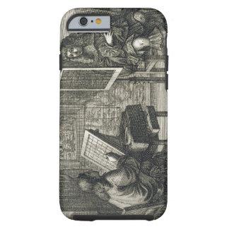 Konstnär som målar ett porträtt över ett raster tough iPhone 6 case