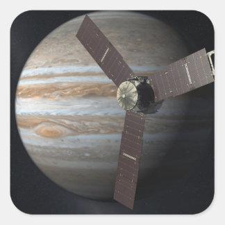 Konstnäråtergivande av JUNO-orbiteren på Jupiter Fyrkantigt Klistermärke