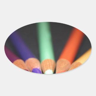 Konstnärens verktyg ovalt klistermärke