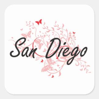 Konstnärlig design för San Diego Kalifornien stad Fyrkantigt Klistermärke