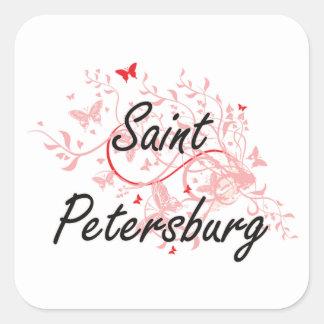 Konstnärlig design för St Petersburg Ryssland stad Fyrkantigt Klistermärke
