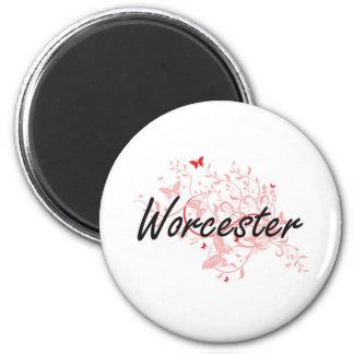 Konstnärlig design för Worcester Massachusetts Magnet Rund 5.7 Cm