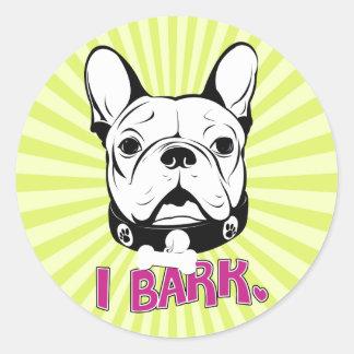 """Konstnärlig fransk bulldogg""""skäll"""" design runt klistermärke"""