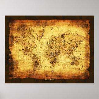 Konstnärlig guld- affisch för karta för gammal poster