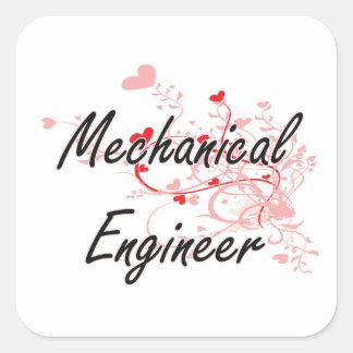 Konstnärlig jobbdesign för mekanisk ingenjör med fyrkantigt klistermärke