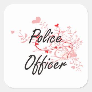 Konstnärlig jobbdesign för polis med hjärtor fyrkantigt klistermärke