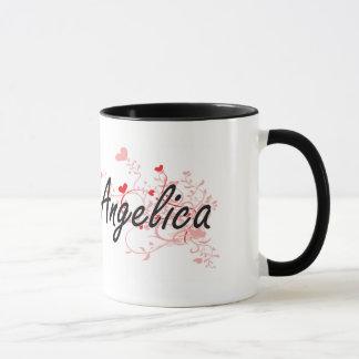 Konstnärlig känd design för Angelica med hjärtor Mugg