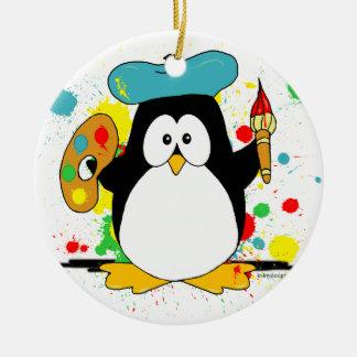 Konstnärlig pingvin julgransprydnad keramik